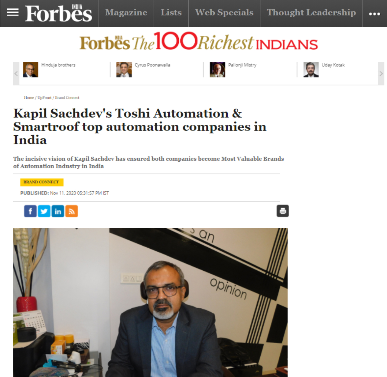 Forbes published an article