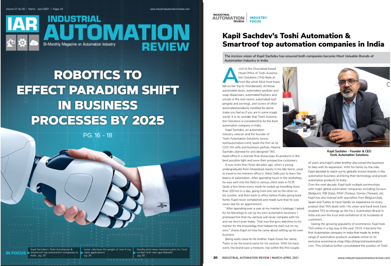 Toshi Automation Solutions story has been printed in Industrial Automation Review magazine -2021