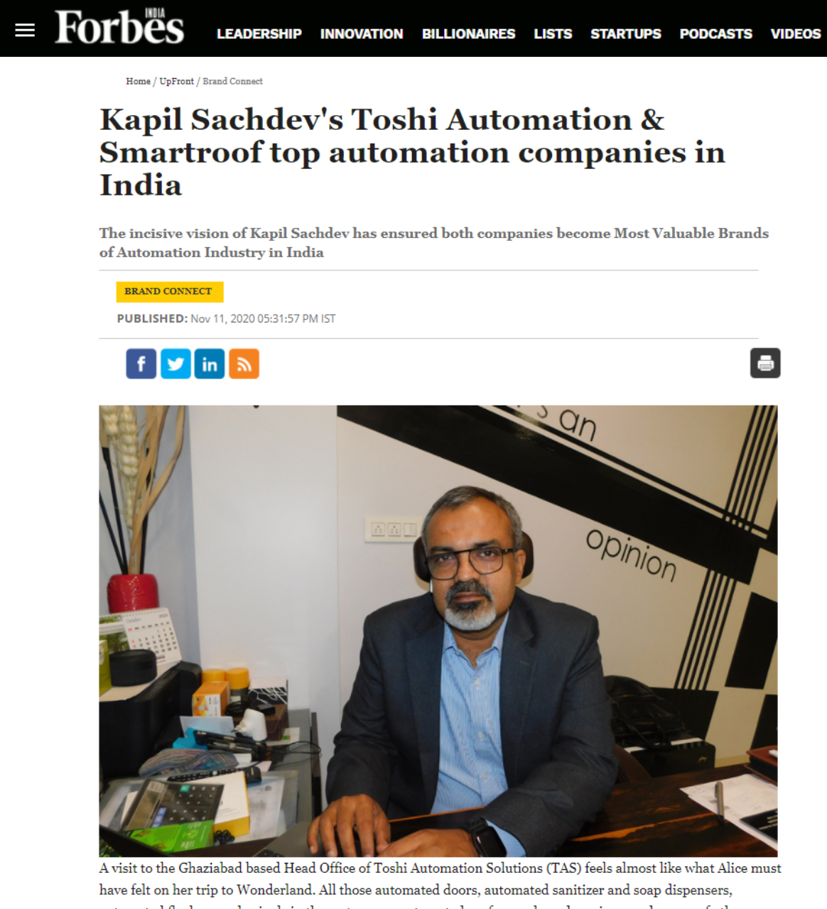 Forbes published an article -2020